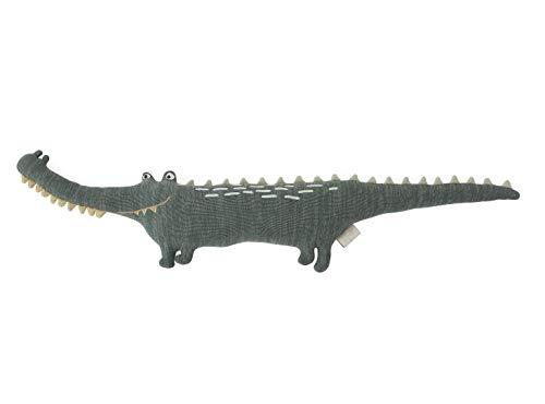 OyOy Mini Mr. Crocodile Gustav - Süßes Baby Kinder Kissen Krokodil Kuschelkissen und Schmusekissen Grün - Baumwolle 90 x 17 x 14 cm