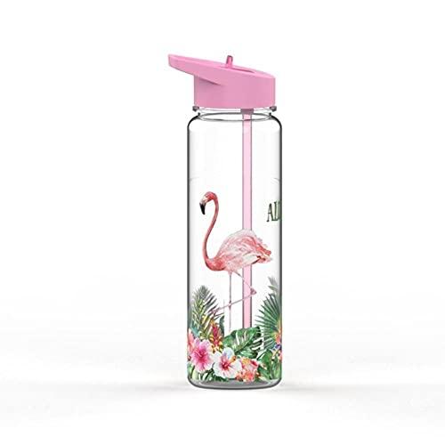 Botella de agua deportiva750ml / 25oz 100% Tritan Deportes Botella de agua de paja al aire libre con flamencos y unicornio Impresión de mi bebida MANGO JURGANO...