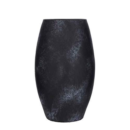 MICA Decorations Deko Vase Lester rund schwarz Terrakotta - H 50 x Ø 30 cm - Bodenvase