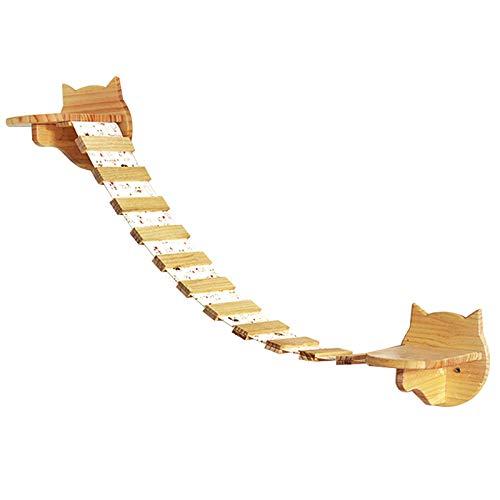 QYonline-JP ねこハウス キャットハウス 猫ハシゴ 猫吊り橋 壁掛け用 壁に取付専用 松の木製 (猫ハシゴ)