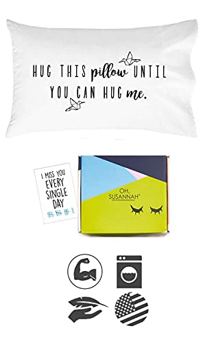 Oh, Susannah Hug This Pillow Until You Can Hug Me - Beautiful Gift Box - LDR Pillow Case 20x30 Standard/Queen Size Pillowcase Long Distance Relationship Gifts Girlfriend Gifts