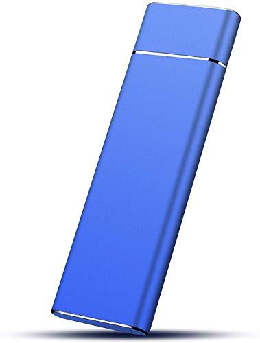 Hard disk esterno da 2 TB, disco rigido portatile, archiviazione dati su disco rigido esterno sottile USB 3.1/Type-C, compatibile con PC, computer portatile e Mac (2TB, Blue)