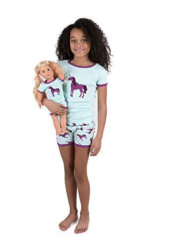 Leveret Shorts Kids Pajamas Matching Doll & Girl Pajamas Set (Unicorn,Size 2 Years)