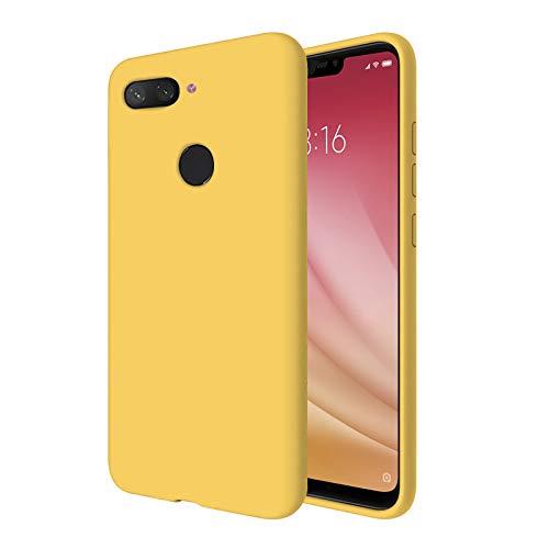 """TBOC Funda para Xiaomi Mi 8 Lite - Mi8 Lite [6.26""""]- Carcasa Rígida [Amarilla] Silicona Líquida Premium [Tacto Suave] Forro Interior Microfibra [Protege la Cámara] Resistente Suciedad Arañazos"""