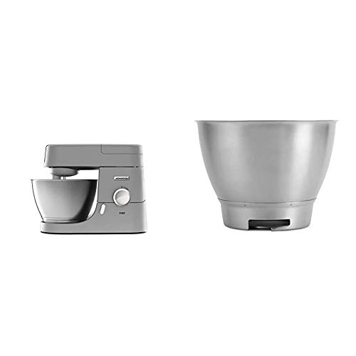 Kenwood Chef KVC3110S Küchenmaschine, 4,6 l Edelstahl Rührschüssel, Interlock-Sicherheitssystem, Metallgehäuse, 1000 Watt, silber & KAT300SS Rührschüssel, 4,6 Liter Edelstahl-Schüssel CHEF SS BOWL