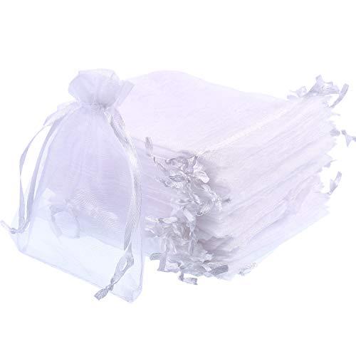 Mudder 50 Stück Organza-Geschenkbeutel für Hochzeiten, Partys, Schmuck, 10,2 x 12,9 cm (weiß)