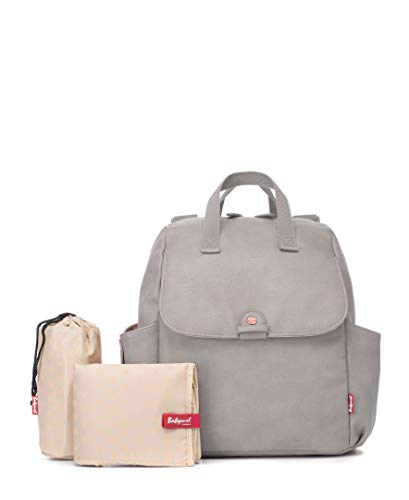 Babymel Robyn Backpack Changing Bag Pale Grey Faux Leather
