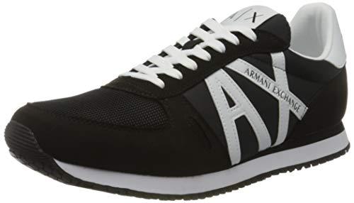 Armani Exchange Retro Running Sneakers, Zapatillas para Hombre, Negro (Black+White K489), 45 EU
