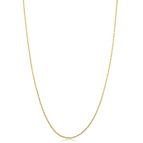 10k Yellow Gold Rope Chain Necklace (0.9 mm, 24 inch)