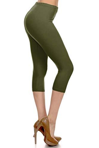 NCPR128-OLIVE Capri Solid Leggings, One Size