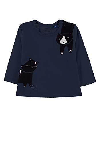 TOM TAILOR Kids T- Shirt Placed Print, Bleu (Black Iris|Blue 3800), 95 (Taille Fabricant: 80) Bébé Fille