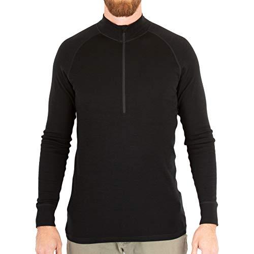 MERIWOOL Mens Base Layer 100% Merino Wool Midweight 250g Half Zip Sweater for Men Black