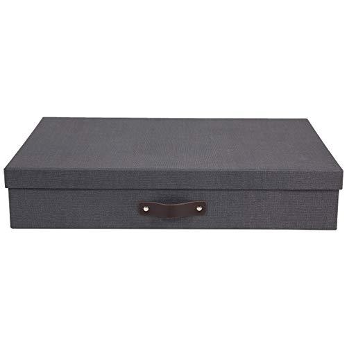 Bigso Box of Sweden Dokumentenbox für Unterlagen im A3-Format – Schreibtischablage mit Deckel und Griff – Aufbewahrungsbox aus Faserplatte und Papier in Leinenoptik – schwarz