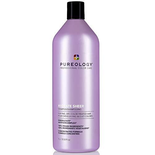 Pureology Hydrate Sheer Nourishing Shampoo | For Fine, Dry Color Treated Hair | Vegan | 33.8 oz.