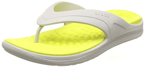 crocs Unisex-Erwachsene Reviva Flip U Dusch- & Badeschuhe, Weiß (Pearl White/Citrus 1cc), 36/37 EU