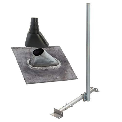 PremiumX Basic X120-48 SAT TV Dachsparrenhalter 120cm Mast 48mm Dachsparren-Halterung Kabeldurchführung für Satelliten-Antenne Satellitenschüssel   Dachabdeckung Blei-Pfanne Tülle schwarz