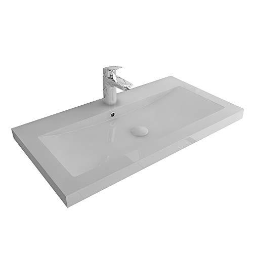 Garda Aufsatzwaschbecken 90 x 48 cm aus hochwertigem Mineralguss mit Überlauf | Handwaschbecken Waschschale Gäste WC Waschtisch Rechteckig| Alpenberger Design