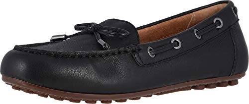 Vionic Women's Honor Virginia Loafer - Ladies Moccasin with Concealed Orthotic Arch Support Black Leather 8.5 Medium US