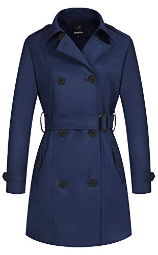 Wantdo Damen Zweireihiger Trenchcoat Klassischer Revers Overcoat Slim Outwear Mantel mit Gürtel - Blau - Medium