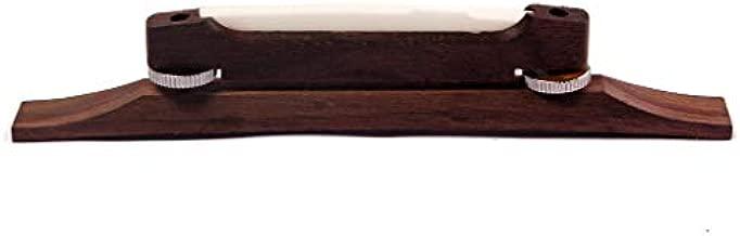 Alnicov Archtop Bridge Adjustable Rosewood Guitar Bridge with Bone Saddle for 6 String Jazz Guitar Replacement Parts