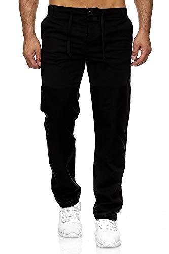 Reslad Leinenhose Männer Chino Herren-Hose lockere Sommer Stoffhose Freizeithose aus bequemer Baumwolle lang RS-3000 Schwarz M