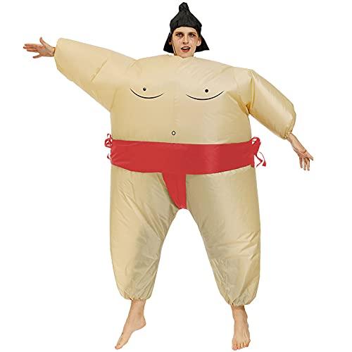Hao-zhuokun Disfraces Inflable Sumo Wrestling Fat Suit Unisex Blow Up Disfraz Divertido Halloween Novedad Disfraz Adulto/Niños Cosplay Disfraz
