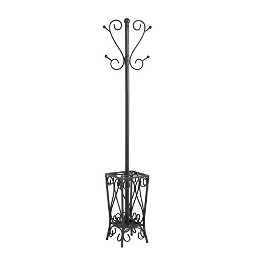 Southern Enterprises Metal Scrolled Coat Rack and Umbrella Stand 69'Tall in Black Finish
