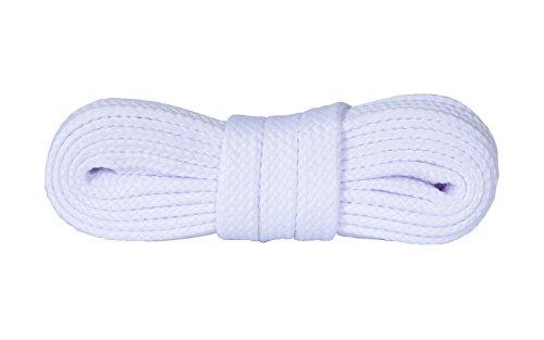Kaps Schnürsenkel Turnschuhe & Freizeitschuhe, hochwertig, strapazierfähig, hergestellt in Europa, 1 Paar (120cm – 7 bis 9 Schnürösenpaare/Weiß)