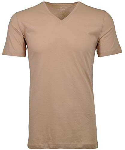 Ragman Herren Doppelpack 2 T-Shirts mit Rundhals, L, Beige