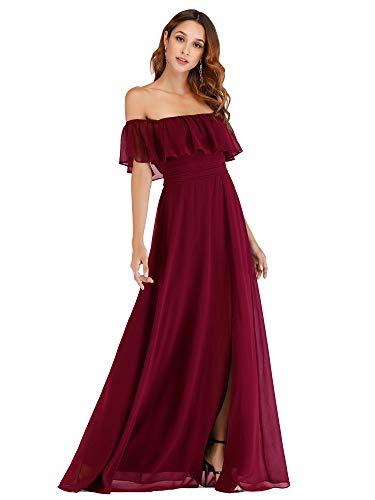 Ever-Pretty Women's Off Shoulder Summer Casual Long Ruffle Beach Maxi Dress Burgundy US6