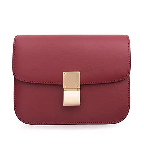 Bolso de piel auténtica con diseño de lujo, bandolera, regalo para mujer, varios colores (color rojo vino grande)