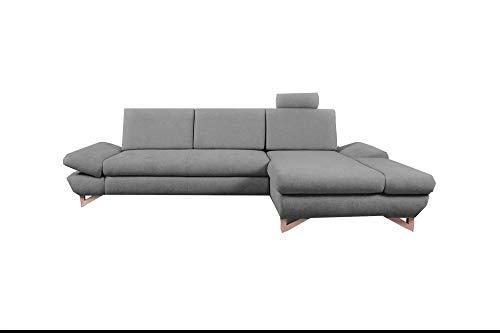 mb-moebel Ecksofa mit Schlaffunktion Eckcouch mit Bettkasten Sofa Couch L-Form Polsterecke Merida (Dunkelgrau, Ecksofa Rechts)