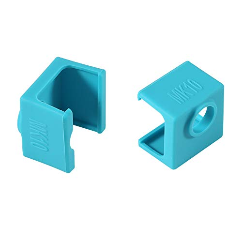 3D Printer MK10 Silicone Socks, Aokin MK10 Heater Block Silicone Cover for Wanhao Duplicator i3 Makerbot 2 QIDI Tech Flashforge, 2 Pcs, Blue