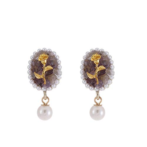 Estilo de palacio de la vendimia piedra púrpura pendientes de flor de rosa perla 925 pendientes de aguja de plata pendientes pendientes