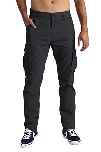 Herren Cargo Hose 6 Taschen 100% Baumwolle Freizeithose Loose Fit Arbeitshose (32W / 32L, Dunkelgrau)