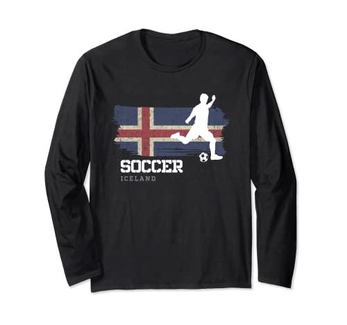 Fútbol Bandera Islandia Equipo de fútbol Jugador de fútbol Manga Larga