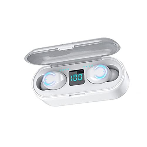 Auriculares Bluetooth Auriculares inalámbricos TWS Bluetooth auriculares F9-8B Deportes Impermeable con MICS Caja de carga Blanco