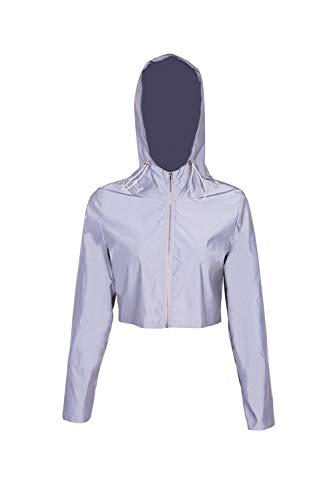 Zamtapary Damen Jacken Mantel Reißverschluss Reflektierende Jacke Beiläufig Trainieren Leuchtend Kapuzenpullover Grau S