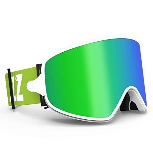 Gafas de esquí 2 en 1 con el doble uso de la lente magnética for el esquí nocturno anti-vaho UV400 de los anteojos del Snowboard Hombres Mujeres Gafas de esquí For Ski glasses ( Color : Green lens )