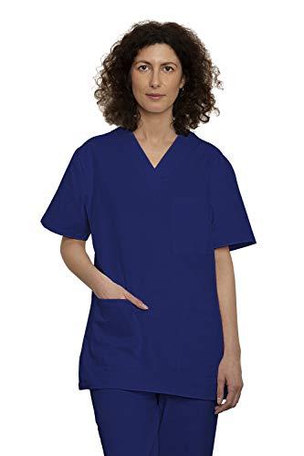 Uniforme Sanitario Pijama Conjunto Casaca Y Pantalón Unisex Hombre Y Mujer   Uniforme Hospitalario 100% Algodón Sanforizado para Medico Enfermeros Personal Sanitario (M, Azul)
