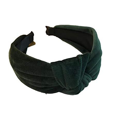 ZWRY Stirnband Haarschmuck Damen Samt Mitte geknotet Breite Seite Stirnband Mode Wilde Stirnband waschen schwarz grün