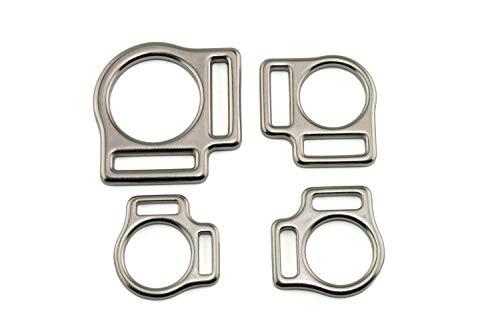 LENNIE 2X Halfterring, zweifach, Edelstahl, Silber, Größe: 25 mm (1