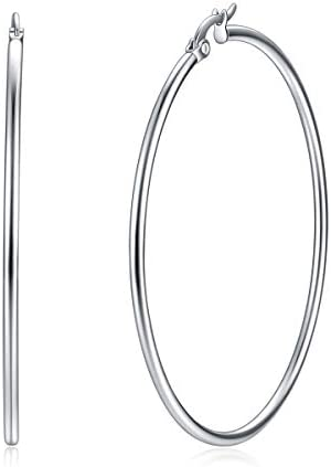 Yanxyad 316L Stainless Steel Hoop Earrings for Women or Girls M 50mm Silver Tone product image