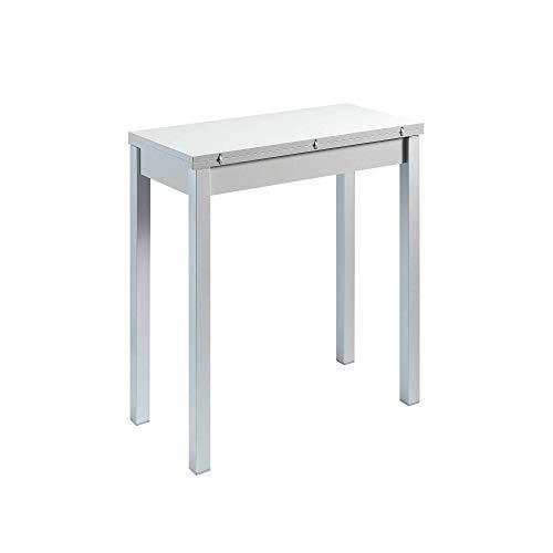 Mesa de Cocina Extensible - Modelo Mayo - Color Blanco/Plata - Material MDF/Metal - Medidas 90 x 45/90 x 76 cm