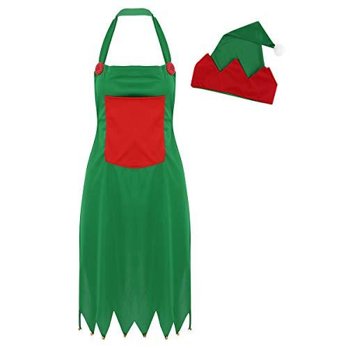 Freebily Grembiule Da Donna Costume Da Elfo Natalizio Fata Con Cappello Da Babbo Natale Set Grembiuli Da Cucina Costume Da Festa Per Adulti Fancy Cosplay Carnevale Verde&Rosso Taglia Unica
