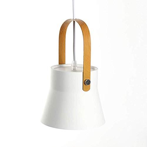 Modern Pendants Light Metal Lamp Shade Wooden Coating Metal Handle Hanging Ceiling Lighting For Kitchen Island Living Dining Room (Color : -, Size : -)
