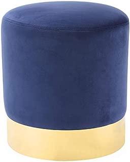 Posh Living Jason Blue Velvet Round Ottoman - Gold Metal Base - Upholstered
