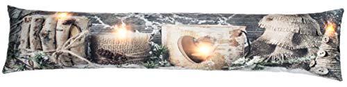 Brandsseller Weihnacht Zugluftstopper LED Beleuchtet 4 LED´s Dekokissen Windstopper 90x20 cm Kerze Herz