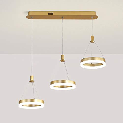 LED Pendelleuchte Dimmbar mit Fernbedienung Kronleuchter Höhenverstellbar Hängelampe Gold Ringe Hängeleuchte Esstisch Esszimmerlampe Wohnzimmer Lampe Schlafzimmer Küche Decke Leuchte 70 * 20cm 48w
