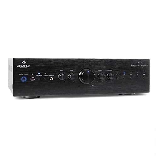 AUNA AV2-CD708 - Home-cinéma Stéréo HiFi, Amplificateur Audio, 125 Watt RMS de Puissance, 5 entrées stéréo-RCA-Line, 1 Sortie Line-RCA, Télécommande, Sortie Frontale Casque, Noir